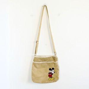 Vintage Disney Mickey Mouse crossbody bag faux suede fabric adjustable strap